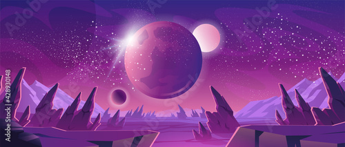 Fotografija Space background with purple planet landscape, stars, satellites and alien planets in sky