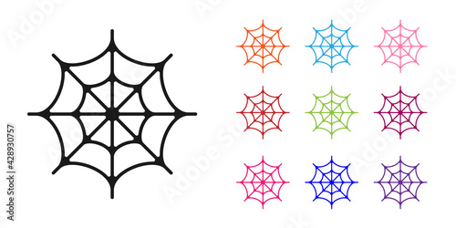 Fotomural Black Spider web icon isolated on white background