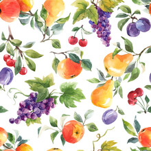 Beautiful Seamless Pattern With Hand Drawn Watercolor Tasty Summer Pear Apple Grape Cherry Plum Fruits. Stock Illustration.