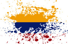Colombian Flag Ink Splatter Vector - Editable Flags And Maps