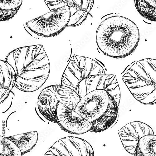 Fotografia Hand drawn seamless pattern black and white of kiwi fruit, slice, leaf