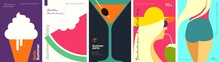 Summer. A Set Of Flat Vector Illustrations. Summer Time, Background Patterns. Ice Cream, Watermelon, Cocktail, Girls. Perfect Background For Posters, Cover Art, Flyer, Banner.