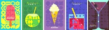 Ice Cream. Summer. A Set Of Flat Vector Illustrations. Summer Time, Background Patterns On The Theme Of Summer, Vacation, Weekend, Beach. Perfect Background For Posters, Cover Art, Flyer, Banner.