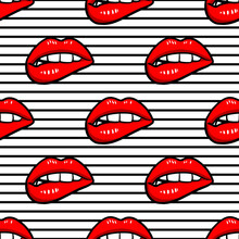 Vector Seamless Pattern With Lips On Geometric Background. Hand Drawn Illustration. Texture For Print