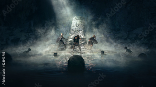 Vikings crew in a dark cave ready to fight against swamp monster under the protection of runes with fog and god ray - concept art - 3D rendering - fototapety na wymiar