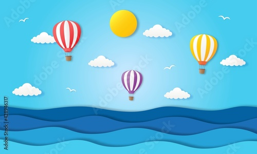 Photo Hello Summer With Beach Landscape Background Paper Art Style_5