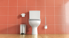 Toilet On A Background Of Red Tiles With A Brush And A Bucket 3d Illustration