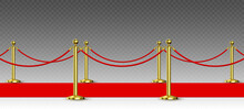 Red Carpet And Golden Barriers Realistic Vector Illustration