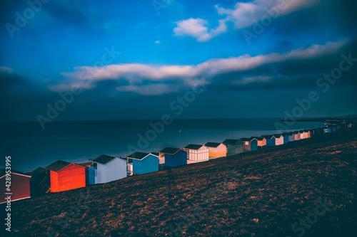 Fototapeta Row of beach huts, Whitstable, Kent, UK