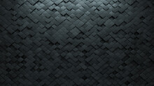Polished, 3D Mosaic Tiles Arranged In The Shape Of A Wall. Concrete, Arabesque, Bricks Stacked To Create A Semigloss Block Background. 3D Render