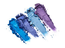 Close-up Of Make-up Swatches. Smears Of Crushed Purple And Blue Eye Shadow