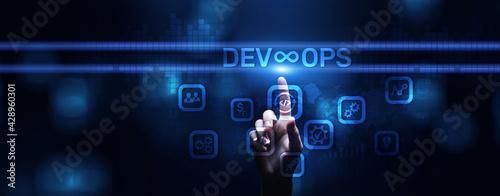Obraz na plátně DevOps Methodology Development Operations agil programming technology concept