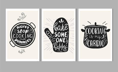 Set of poster templates for kitchen with hand lettering.
