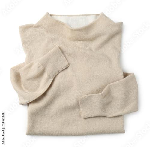 Obraz Cashmere sweater on white background, top view - fototapety do salonu