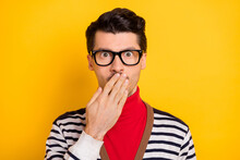 Photo Of Young Man Close Cover Lips Hand Worried Nervous Fail Mistake Wear Red Turtleneck Isolated Over Yellow Color Background