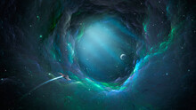 Space Background. Spaceship Fly Through Colorful Nebula Fractal Tunnel To Planet. Elements Furnished By NASA. 3D Rendering