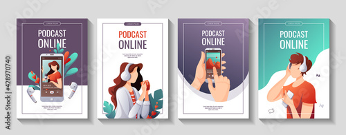 Fotografie, Obraz Set of promo flyers for Podcast, Streaming, listening to music, Online show, blogging, radio broadcasting
