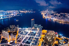 Epic Aerial View Of Night Scene Of Victoria Harbour, Hong Kong