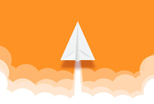 Paper Rocket Or Airplane Launch. Concept Of Business Start-up, Boost Or Success.