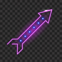 Neon Rocket Arrow Template Isolated. Electric Purple Signpost With Soft Glow And Blue Lights Electric Symbol Of Bars And Vector Club.
