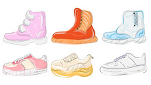 Various Shoes Icons Collection. Boots, Sport Shoes, Sneaker, Hiking Footwear And Other Shoes For Training. Vector Fashion Sport