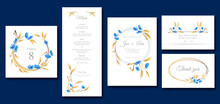 Spring And Summer Wedding Invitation Set Template With Cornflowers And Wheat