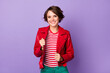 canvas print picture Photo of satisfied friendly lady hands touch jacket smile look camera isolated on violet color background