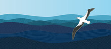 Albatross Hovers Over The Ocean. The Bird Flies Near The Blue Waves. Abstract Background Template With Pattern In Oriental Style. - Vector
