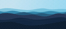 Blue Abstract Wavy Background With Patterns In Oriental Style. Vector Modern Sea Water Or Ocean Illustration For Banner, Card Or Print Design