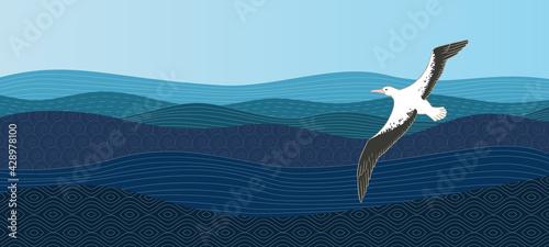 Fotografia, Obraz Albatross hovers over the ocean