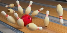 Bowling Strike Pins And Bowling Ball On The Track. 3D Render