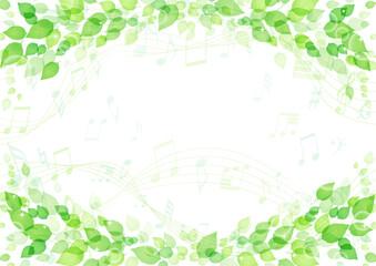キラキラ 葉っぱと音符の背景 フレーム 横