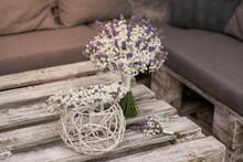 Ghypsophila And Lavender Wedding Wreath. Bridal Set.