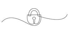 Padlock In Continuous Line Art Drawing Style. Portable Lock With Keyhole Minimalist Black Linear Sketch Isolated On White Background. Vector Illustration