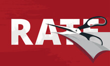 Rate Cut Vector Illustration With A Scissors Cutting Tax, Hourly, Interest Rates As The Metaphor Of A Costs Reduce. Favorable Lending Terms. Business And Finance. Economics And Markets
