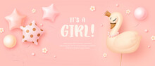 Baby Shower Horizontal Banner With Cartoon Swan And Helium Balloons On Pink Background. It's A Girl. Vector Illustration