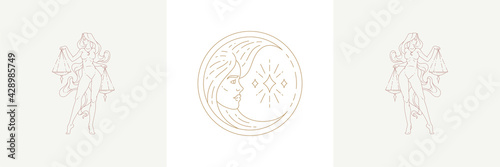 Fotografija Magic woman face as moon crescent and female libra in boho linear style vector illustrations set