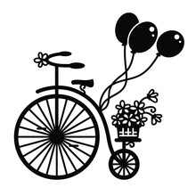 Vintage Bicycle With Flowers And Ballons. Vector Graphic Illustration Of Old-style Bike Silhouette For Print Isolated On White