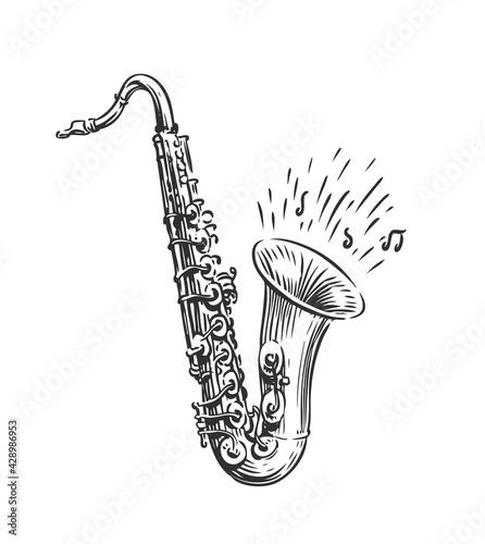 Fotografie, Obraz Hand drawn sketch of saxophone isolated vector art