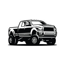 Dually Truck Lifted Vector Isolated. Pickup Truck Vector