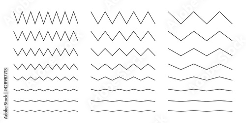Collection of wavy or zigzag lines. Horizontal thin lines wave. Dotted line. Big set black color. Vector illustration. - fototapety na wymiar