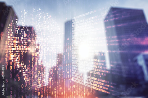 Slika na platnu Abstract virtual code skull hologram on modern architecture background, cybercrime and hacking concept