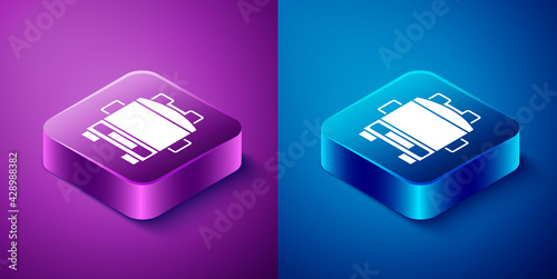 Fotografia, Obraz Isometric Fire truck icon isolated on blue and purple background