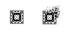 Ornamental Qr Code 8 Bit Dispersed Filled Rectanlge, Illustration For Graphic Design, Colors: Black And White