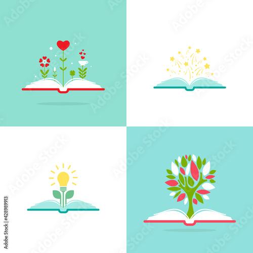 Carta da parati open book with green tree, stars, hearts and bulb