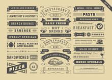 Restaurant Menu Typographic Decoration Design Elements Set Vintage And Retro Style Vector Illustration