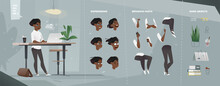 Stylized Casual Characters Set For Animation. Staying Woman With Laptop.