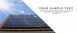 Solar panel close up with clear blue sky. Green energy saving concept with copy space.