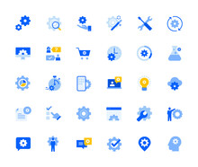 Settings And Preferences Icons Set For Personal And Business Use. Vector Illustration Icons For Graphic And Web Design, App Development, Marketing Material And Business Presentation.