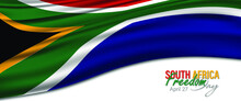 Vector Illustration Of South Africa Freedom Day, Which Is Celebrated On 27 April. Background, Poster, Card, Banner Design. Vector EPS 10. Waving Flag.